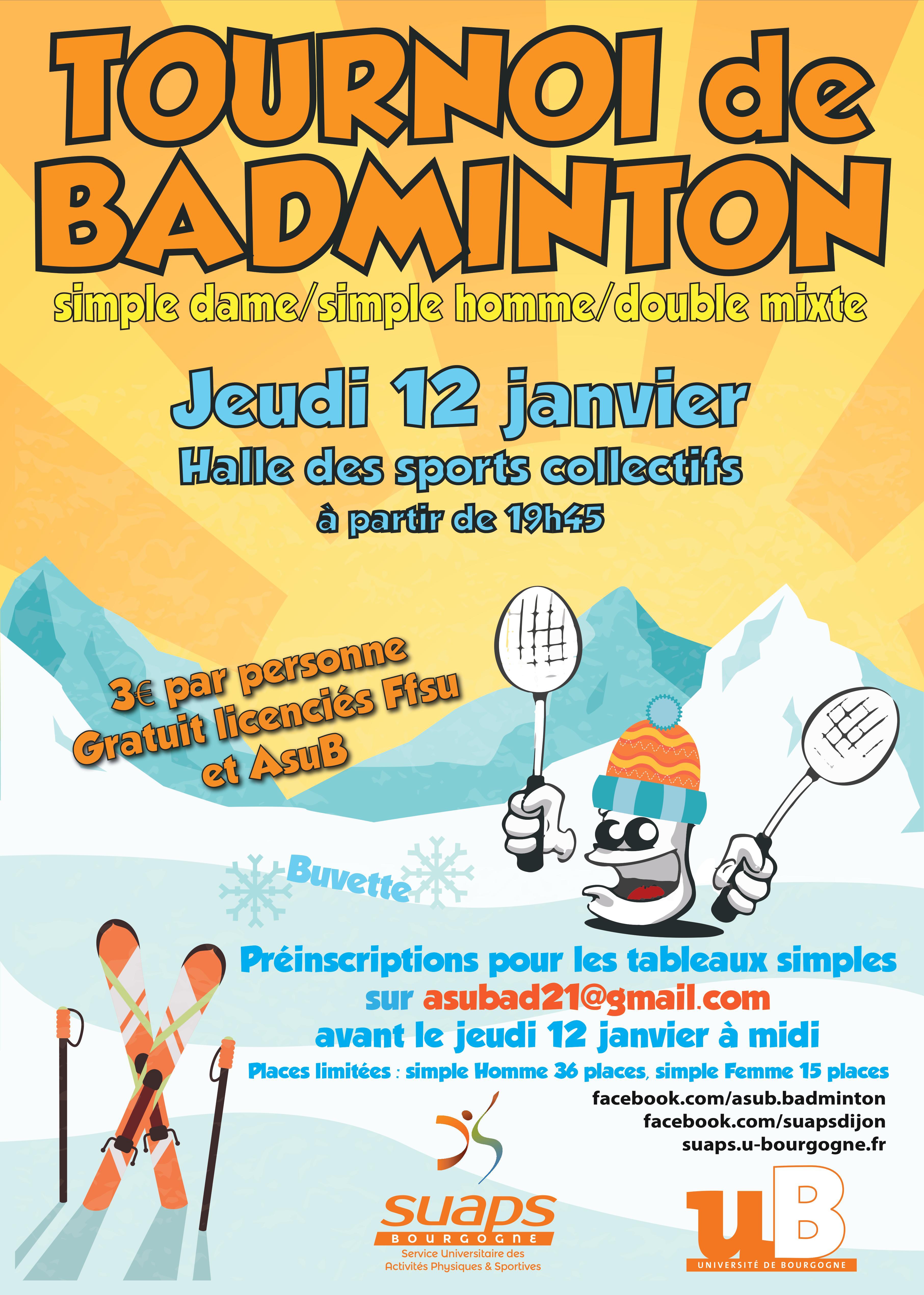 Tournoi de Badminton – SUAPS Bourgogne a2e4908f889