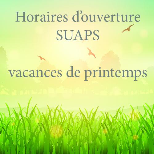 Vacances de printemps du SUAPS